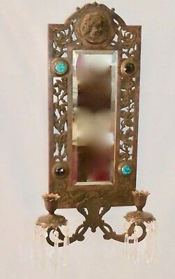 Antique BRASS Over CAST IRON 2-Candle Mirror + Jewel Wall Sconce.16 Prisms.1875