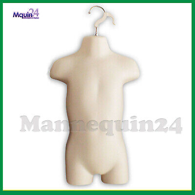 Toddler Torso Hanging Mannequin - Flesh Kids Dress Form +  Hanger