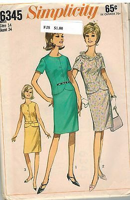 6345 Vintage Simplicity Sewing Pattern Misses Two Piece Dress Skirt Suit Career