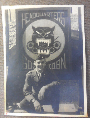 Vtg WW II US Army 602nd Tank Destroyer Bn Officer B/W Photograph At Headquarters