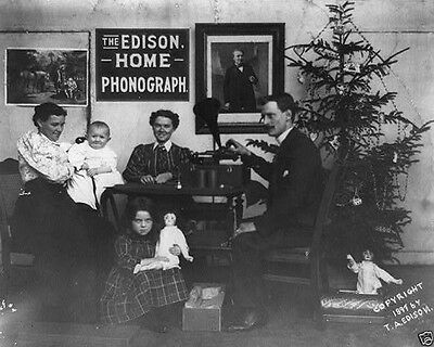 Family listening to Edison Home Phonograph at Christmas 1897 New 8x10 Photo