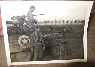 Vintage WW II US Army Armored Vehicle W/ Soldiers B/W Photograph Named