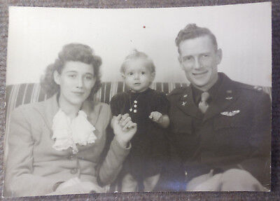 Vintage WW II US Army Air Forces B/W Photograph Pilot w/ Wings & Family