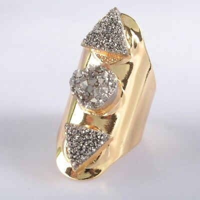 Defective Scratched Size 7 Agate Titanium Druzy Ring Gold Plated H102096