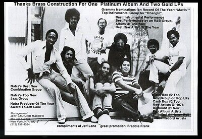 1976 Brass Construction jazz band photo trade booking print ad