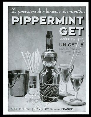 1952 Pippermint Get Freres bottle photo vintage French print ad