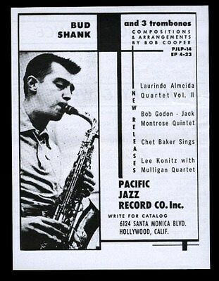 1954 Bud Shank photo Pacific Jazz Records vintage print ad