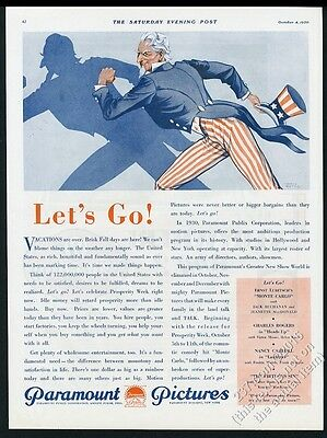 1930 Uncle Sam art by Lionel Reiss Paramount Pictures vintage print ad