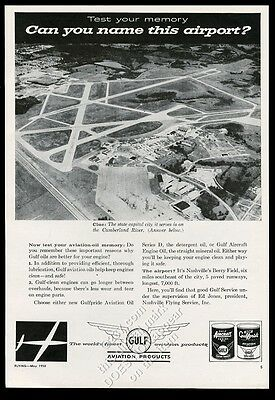 1958 Nashville Berry Field airport photo Gulf Aviation oil vintage print ad