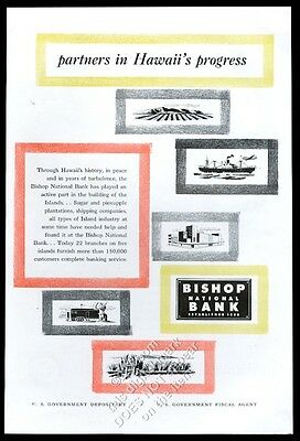 1955 Bishop National Bank Hawaii illustrated vintage print ad