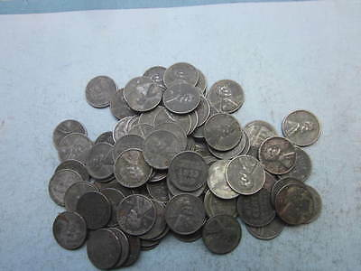 1943-100 Steel Lincoln One Cent Circulated Wheat Pennies