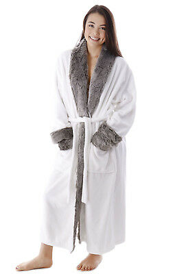 Unisex Plush Warm Faux Fur Collar Velour Robe Sleepwear with Two Pockets