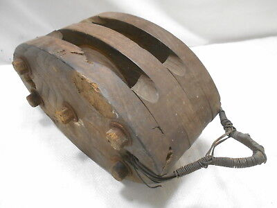 Vintage Wooden Ship's Pulley One Wooden Wheel Japanese Large  #173