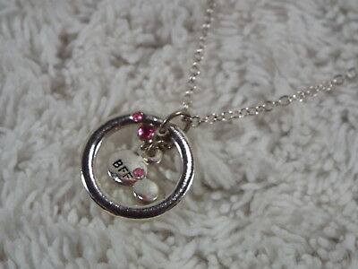 Silvertone BFF Mickey Mouse Head Circle Pendant Necklace (D16)