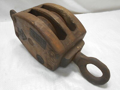 Vintage Wooden Ship's Pulley Two Steel Wheels Japanese Markings Medium  #176