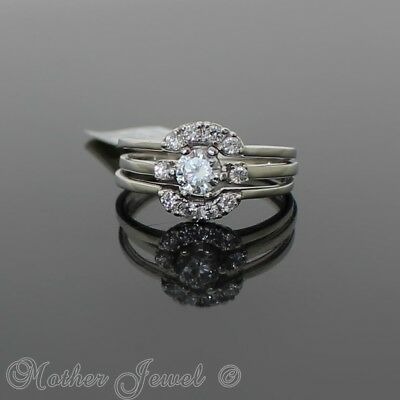 Solid 925 Sterling Silver Simulated Diamond Engagement & Wedding Band 3 Ring Set