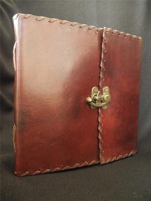 Large Leather Handmade Sketchbook Journal - Cast Brass Catch - Choice of Paper
