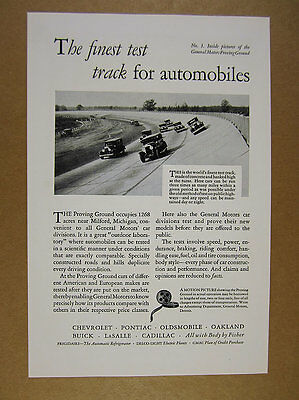 1929 General Motors GM Proving Grounds Test Track photo vintage print Ad