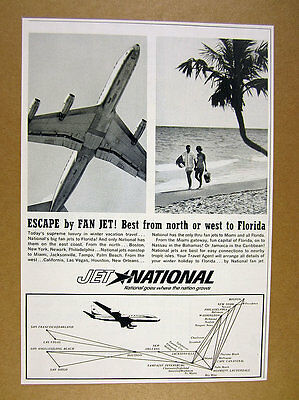 1963 National Airlines jet photo flights route map vintage print Ad