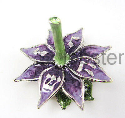 BEAUTIFUL PURPLE FLOWER PETALS COLLECTIBLE SILVER PLATED DREIDEL w stand USA