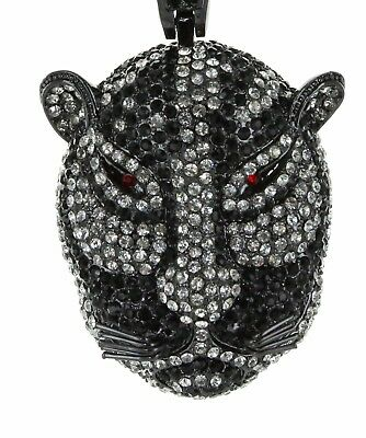 """Mens Black Finish Hip Hop Iced Out Tiger Head Pendant 37"""" Franco Chain Necklace"""