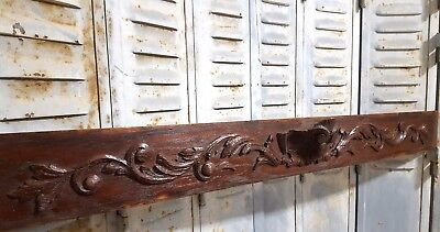 HUGE CARVED WOOD PEDIMENT ANTIQUE FRENCH COAT OF ARMS PANELLING ORNAMENT 19 th