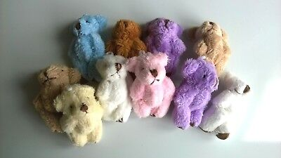Teddy Bears x 10 Assorted Fluffy SLIGHT  SECONDS, DOLLS HOUSE MINIATURES (F5145)