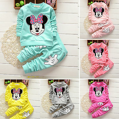 enfants bébé fille Minnie Mouse tenues vêtements 2pcs Ensemble t-shirt haut +