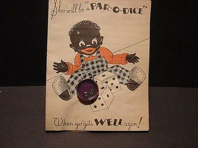 "Vintage 1940s BLACK AMERICANA Card:Black Boy ""Roll Dem Bones"" w/Real Mini Dice"