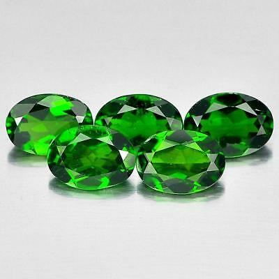 3.97 Ct. 5 Pcs.oval Shape Natural Gemstones Green Chrome Diopside From Russia