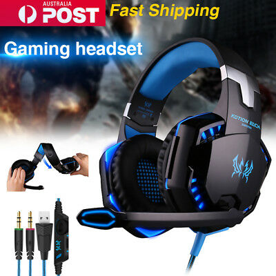 Pro 3.5mm Gaming Headset Mic LED Headphones Surround for PC Mac Laptop PS4 Xbox