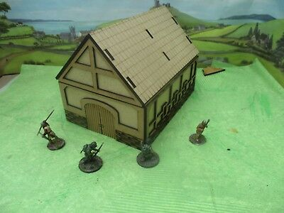 28mm Ancient Fantasy Barn with Stone and  wood Laser Cut MDF Building Scenery
