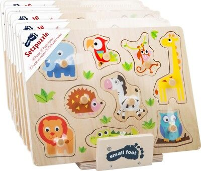 Small foot-Display inkl. 10 Puzzles, Setzpuzzle aus Holz