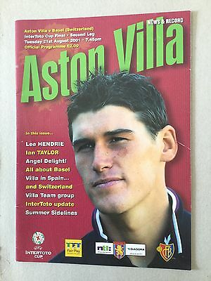 ASTON VILLA v BASEL ( Intertoto Final ) 2001.