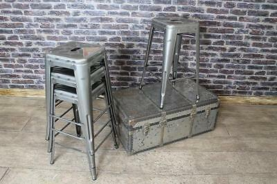 Industrial Vintage Tolix Style Low Bar Stools Gunmetal Stacking Stools