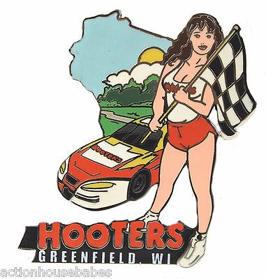 Hooters Restaurant Greenfield Wisconsin Wi Checker Flag Race Car Girl Lapel Pin