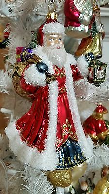 Santa Red W Lantern Bag Gifts Glass Christmas Tree Ornament Poland 020074