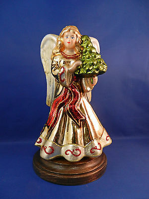 Angel W Wings Religious W Tree Wood Stand Glass Christmas Ornament Poland 056