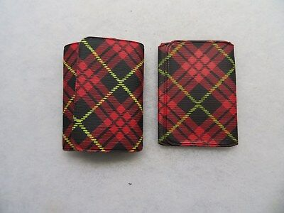 2 Schlitz Beer Vintage 1950s Plaid vinyl fold over Business Card Holders