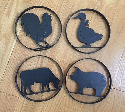 """Set Of 4 Round Metal Black Animal Silhouette Rooster Duck Cow Pig 5"""""""