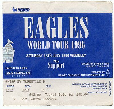 Eagles Concert Ticket Original 1996 Valuable Gem Vintage  Rare Fully Dated Gem