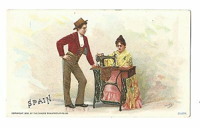 1892 Trade Card Singer Manufacturing Co Sewing Machine Seville SPAIN