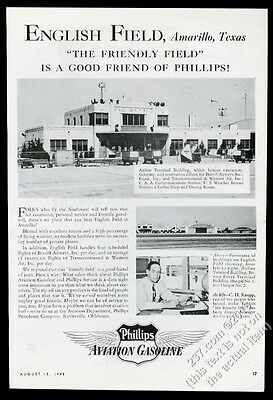 1945 English Field airport Amarillo Texas photo Phillips aviation gas vintage ad