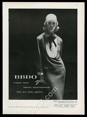 1956 BBDO advertising woman in houndstooth dress translucent hat photo print ad