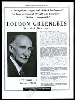 1939 Loudon Greenlees photo USA recital tour trade booking ad