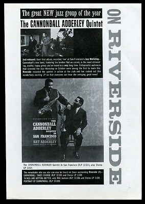 1959 Cannonball and Nat Adderley photo Riverside Jazz records vintage print ad