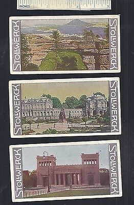 1908 #21 Lot of 3 Diff Germany STOLLWERCK Chocolate Advertising Trade Cards Ad