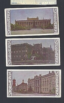 1908 #4 Lot of 3 Diff German STOLLWERCK Chocolate Advertising Trade Cards Ad Old