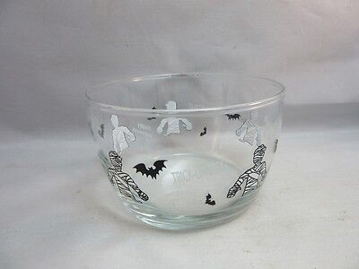 Libbey glass Halloween candy bowl. Mummy & bat. BOO