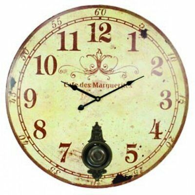 "Silent Wall Clock Large 23"" W/ Pendulum Antique French Provincial Upp"